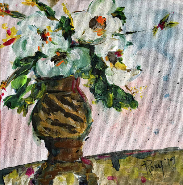 Artwork Painting - Gardenias In A Zebra Vase by Roxy Rich
