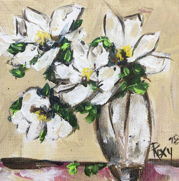 Still Life Painting - Gardenias by Roxy Rich
