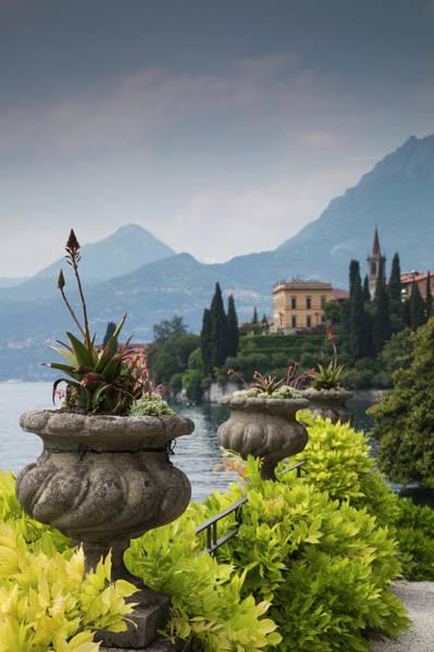 Villa Photograph - Gardens And Lakefront, Villa Monastero by Walter Bibikow