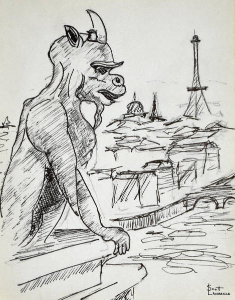 Wall Art - Photograph - Gargoyle On Top Of Notre Dame by Richard Lawrence