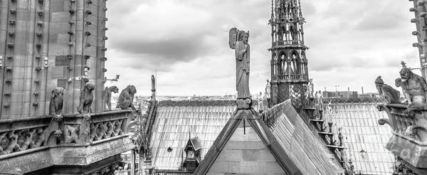 Photograph - gargoyle statues of Notre Dame panorama by Benny Marty