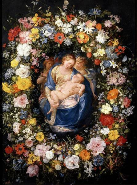 Procaccini Painting - 'garland With The Virgin, The Christ Child An... by Jan Brueghel the Elder -1568-1625- Giulio Cesare Procaccini -c 1570-1625-