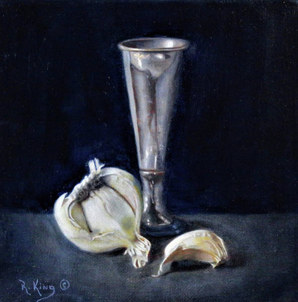 Wall Art - Painting - Garlic And Vase by Roena King