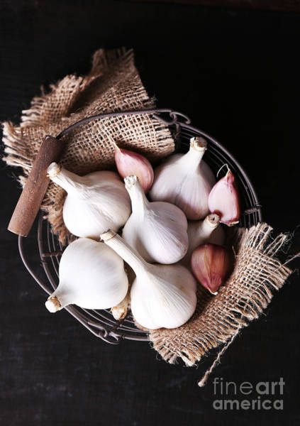 Raw Wall Art - Photograph - Garlic In Basket On Black Wooden by Africa Studio