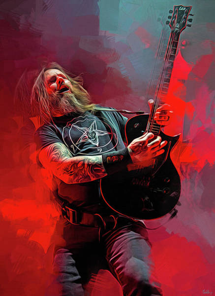 Jeff Hanneman Wall Art - Mixed Media - Gary Holt, Slayer by Mal Bray