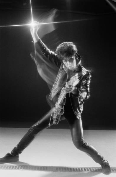 Photograph - Gary Moore In Leather by Fin Costello