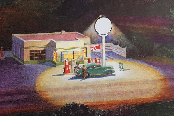 Nostalgia Digital Art - Gas Station At Night by Graphicaartis