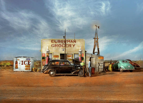 Photograph - Gas Station - In The Middle Of Nowhere 1940 by Mike Savad