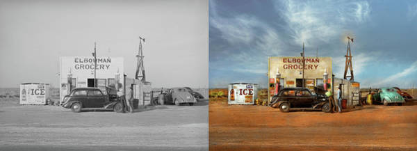 Photograph - Gas Station - In The Middle Of Nowhere 1940 - Side By Side by Mike Savad