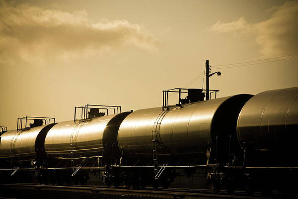 Gas Photograph - Gasoline Train At Sunset by Halbergman