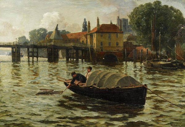Wall Art - Painting - Gate House, Putney Bridge, The Thames, London by Charles Napier Hemy