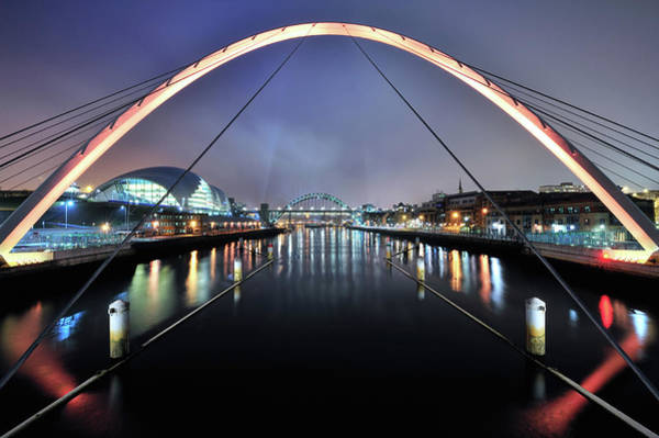 Gateshead Millennium Bridge Photograph - Gateshead Millenium Bridge & The River by Anthony Brawley Photography