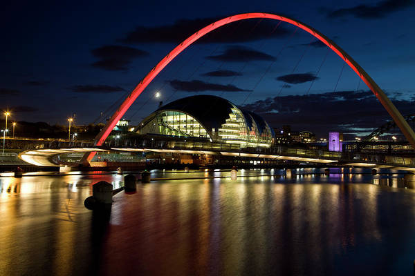 Gateshead Millennium Bridge Photograph - Gateshead Millennium Bridge At Night by Gannet77