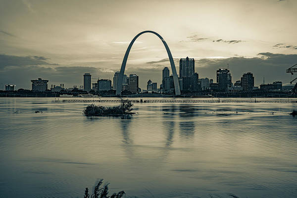 Wall Art - Photograph - Gateway Arch And St. Louis Skyline River Reflections - Sepia Edition by Gregory Ballos