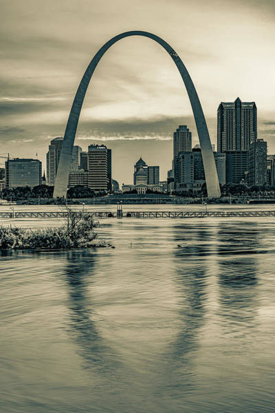 Wall Art - Photograph - Gateway Arch Sunset - Saint Louis Missouri In Sepia by Gregory Ballos