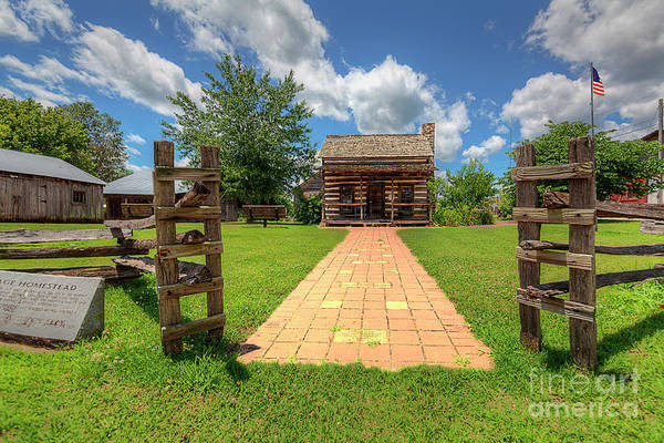 Wall Art - Photograph - Gateway To Pioneer Log Cabin  by Larry Braun