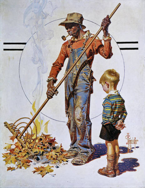 Wall Art - Painting - Gather Of Fallen Leaves - Digital Remastered Edition by Joseph Christian Leyendecker