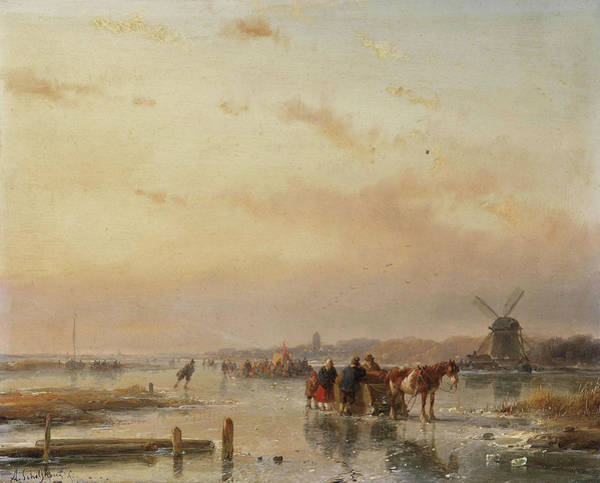 Figure Skater Painting - Gathered On The Ice At The End Of A Winter's Day by Andreas Schelfhout