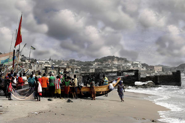 Photograph - Gathering Around The Boat Cape Coast Ghana by Wayne King