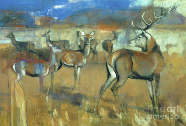 Wall Art - Painting - Gathering Deer by Mark Adlington