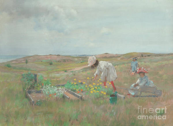 1897 Painting - Gathering Flowers, Shinnecock, Long Island, 1897 by William Merritt Chase