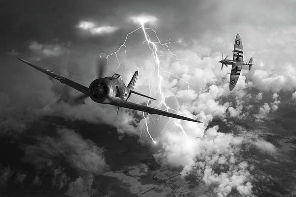 Royal Air Force Digital Art - Gathering Storm - Bw by Mark Donoghue