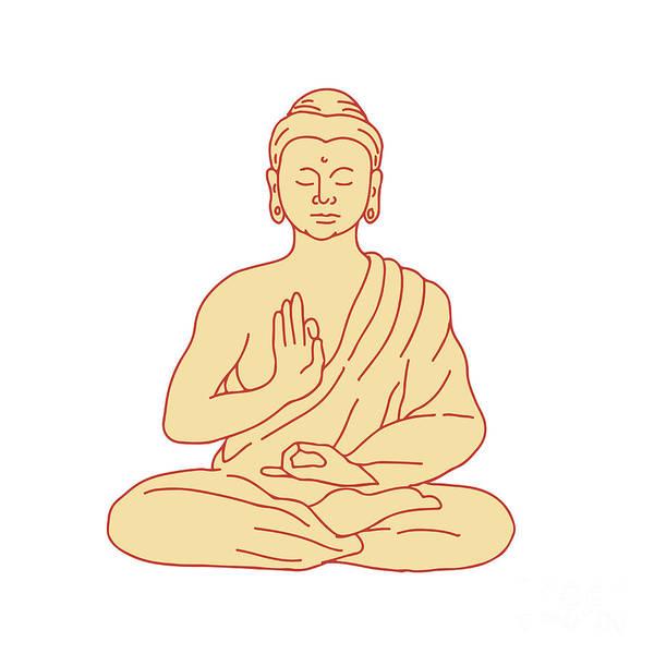Gautama Digital Art - Gautama Buddha Sitting Lotus Position Drawing by Aloysius Patrimonio