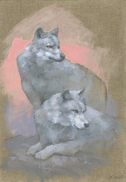 Wall Art - Painting - Gaze Of The Grey Wolves by Steve Mitchell