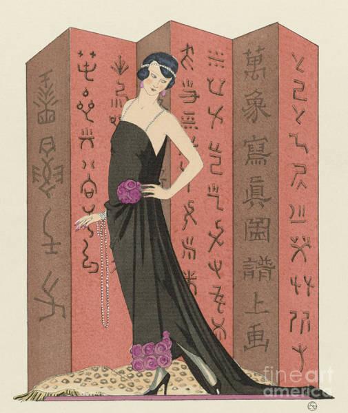 1920s Drawing - Gazette Du Bon Ton, 1921 Le Paravent Rouge  by Georges Barbier