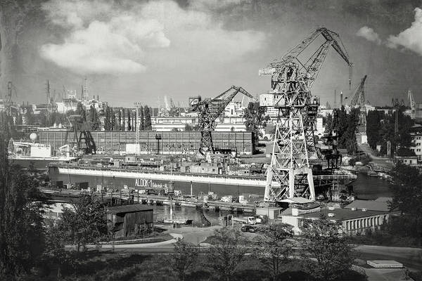 Wall Art - Photograph - Gdansk Shipyard Poland Black And White by Carol Japp