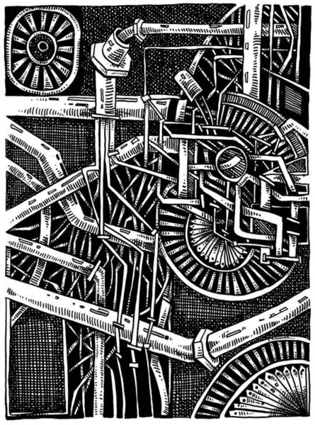Drawing - Gears Of The Universe by Enrique Zaldivar