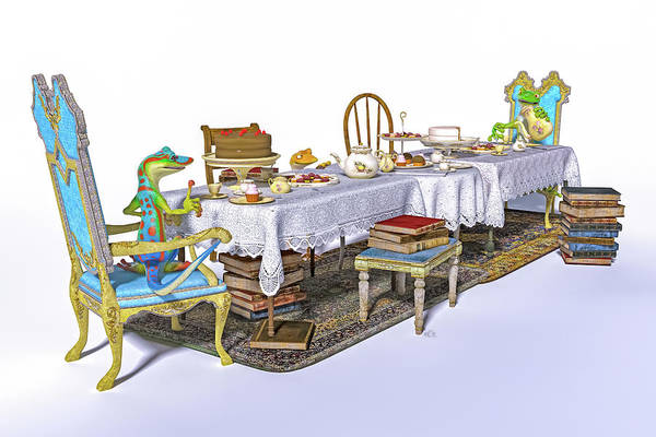 Wall Art - Digital Art - Geckos Tea Time by Betsy Knapp