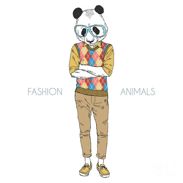 Wall Art - Digital Art - Geek Panda Boy, Furry Art Illustration by Olga angelloz