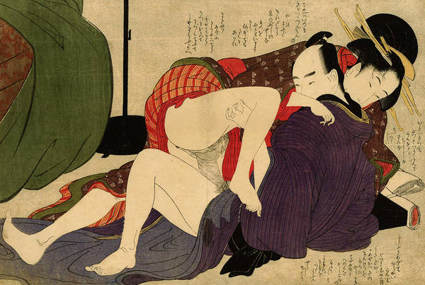 Having Sex Painting - Geisha And Her Lover, 1799 by Kitagawa Utamaro