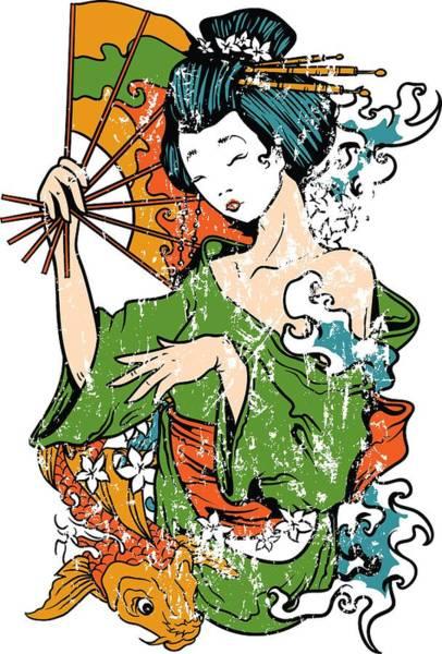 Digital Art - Geisha Geiko Geigi Koi Fish by Passion Loft