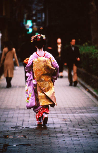 Headwear Photograph - Geisha In Kimono Walking Away, Pontocho by Lonely Planet