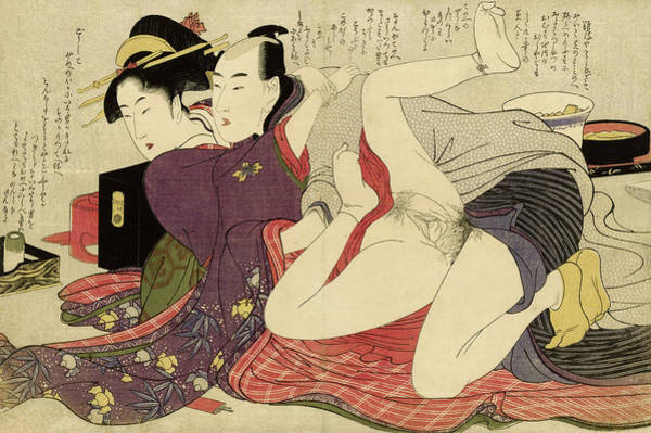 Wall Art - Painting - Geisha In Kimono With Long Sleeves And Her Lover, 1799 by Kitagawa Utamaro