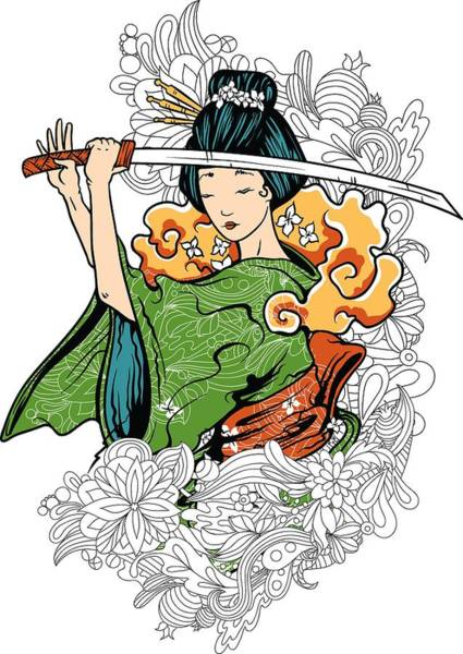 Digital Art - Geisha Katana And Flowers by Passion Loft
