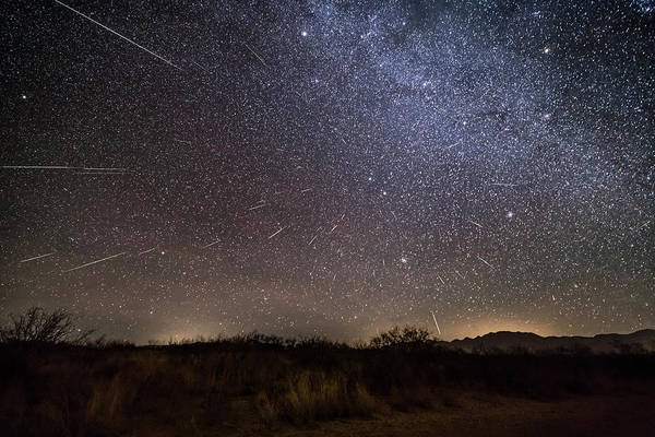 Wall Art - Photograph - Geminid Meteor Shower Streaking by Alan Dyer