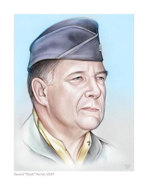 United States Drawing - General Chuck Horner - Color by Greg Joens