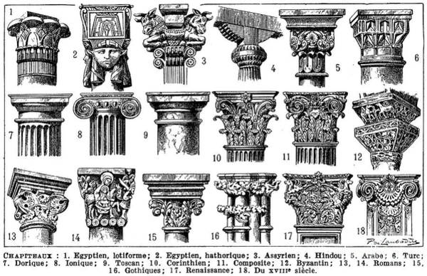 Hindu Drawing - General Descriptions Of The Main Types Of Capitals by Louis Paul de Laubadere