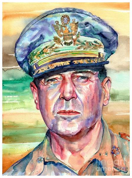 Wall Art - Painting - General Douglas Macarthur Portrait by Suzann Sines