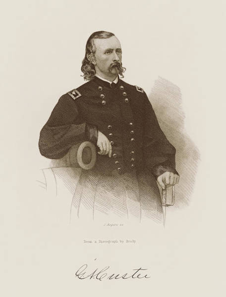 Wall Art - Drawing - General George Armstrong Custer Engraved Portrait  by War Is Hell Store