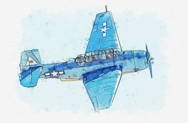Wall Art - Painting - general motors Grumman TBF Avenger watercolor by Ahmet Asar by Celestial Images