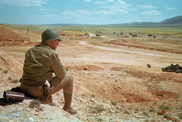 Helmet Photograph - General Patton In The Desert by Eliot Elisofon