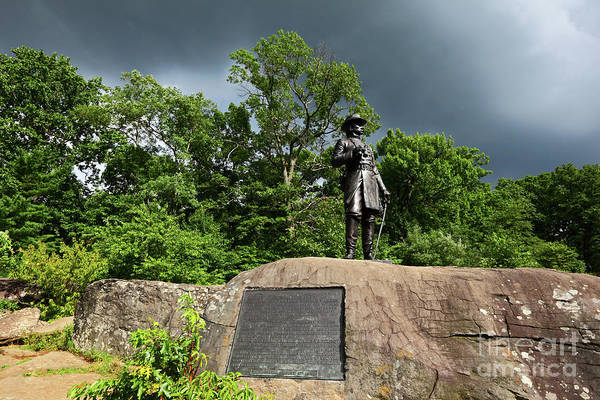 Photograph - General Warren Monument Little Round Top Hill Gettysburg  by James Brunker