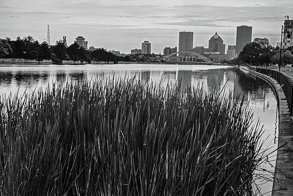 Photograph - Genessee River Tall Grass Skyline Sunrise Rochester Ny Black And White by Toby McGuire