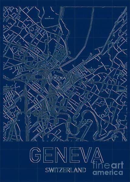 Digital Art - Geneva Blueprint City Map by Helge