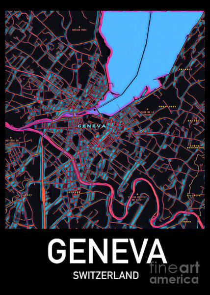 Digital Art - Geneva City Map by Helge