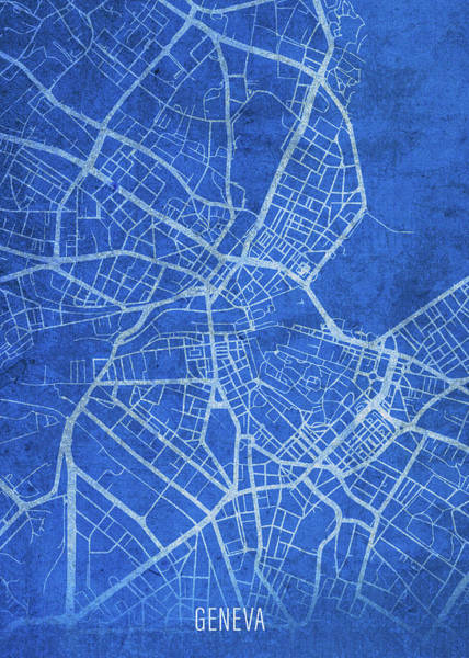 Wall Art - Mixed Media - Geneva Switzerland City Street Map Blueprints by Design Turnpike